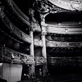 The Opera by Pam Blackstone - Black & White Buildings & Architecture ( galleries, balconies, theatre, seats, opera, light,  )