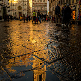 Sunset after the rain  by Gino Petrangelo - City,  Street & Park  Street Scenes ( reflection, florence, italia, sunset, street, firenze, italy, rain )