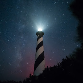 Cape Hatteras Lighthouse by Robert Mullen - Buildings & Architecture Public & Historical ( milkyway, cape hatteras lighthouse, outer banks, stars, lighthouse, long exposure, night sky, north carolina )