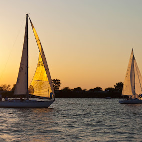 Relaxing evening on the water by Stephanie Simmons - Transportation Boats