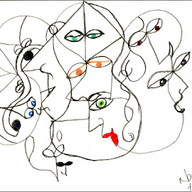 Picassoesque by Nancy Bowen - Drawing All Drawing ( abstract, faces, picasso, selective coloring, shapes )
