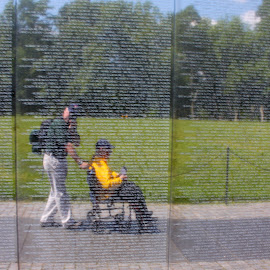 Honor Flight 2014 by John Nelson - City,  Street & Park  Historic Districts ( dc, washington, vietnam war memorial, war veteran, honor flight )
