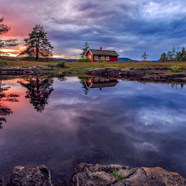 Red & Blue by Walter Urnes - Landscapes Sunsets & Sunrises ( water, sky, sunset, cottage, trees, reflections, lake, dramatic sky, rocks, norway )