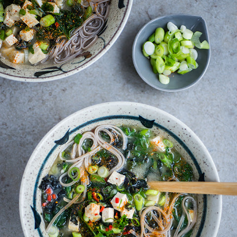 Japanese Miso, Kale and Tofu Soup
