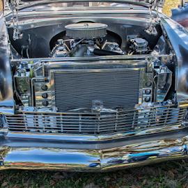 56 Chevy by Joe Saladino - Transportation Automobiles ( engine, chevrolet, automobile, chrome, classic )