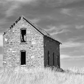 Abandoned Stage Stop by James Oviatt - Black & White Buildings & Architecture