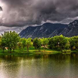 Storm Brewing by James Martinez - Landscapes Cloud Formations ( clouds, reflection, waterscape, green, trees, storm )