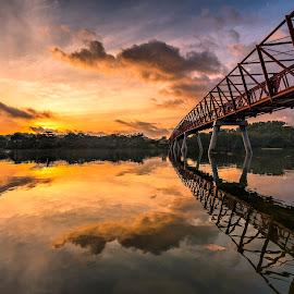 by Gordon Koh - Buildings & Architecture Bridges & Suspended Structures ( reflection, structure, asia, long exposure, bridge, architecture, sunrise, lorong halus, singapore, punggol )