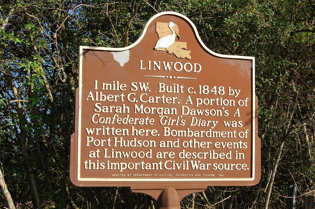 1 mile SW. Built c. 1848 by Albert G. Carter. A portion of Sarah Morgan Dawson's A Confederate Girl's Diary was written here. Bombardment of Port Hudson and other events at Linwood are described in ...