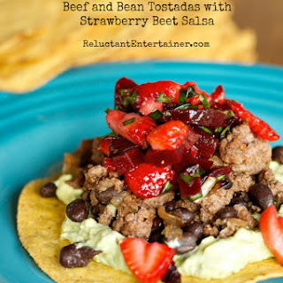 Beef and Black Bean Tostadas with Strawberry Beet Salsa