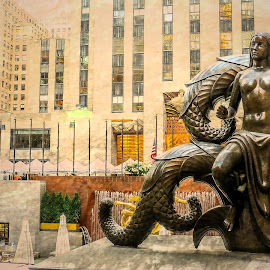 Rockefeller Center  by T Sco - Digital Art Places ( center, statue, rockefeller, park, rockefeller center, new york, new york city, nyc )