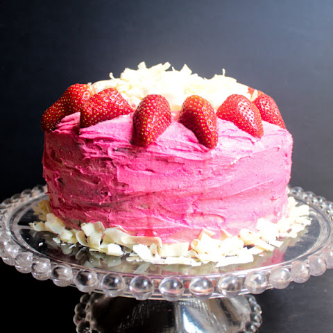 Midnight Chocolate Cake with Pink Vanilla Buttercream Icing