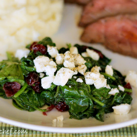 Sauteed Spinach with Cranberries and Feta