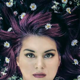 Hair in flowers by Jelena Vlatkovic - People Portraits of Women ( girl, purple, woman, art, flowers, deep, hair, photography, portrait, eyes )