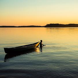 Evening Paddle by Tom Moors - Transportation Boats ( canoe, lake, lake canoe russell, calhoun state park, south carolina )