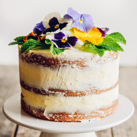 Triple Lemon Naked Layer Cake with Pansies