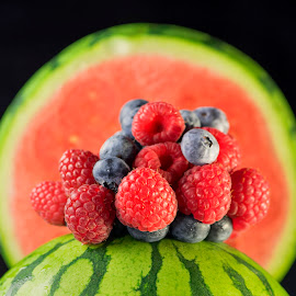 Berry Melon by Jim Downey - Food & Drink Fruits & Vegetables ( placement, blueberry, raspberry, watermelon, black )