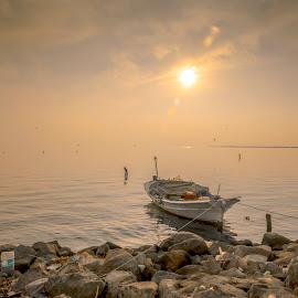 Bostanlı sunset by Murat Besbudak - Transportation Boats