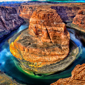 A River Runs Through It by Brent Clark - Landscapes Deserts ( desert, arizona, red rock, canyon, landscape, horseshoe bend, river )