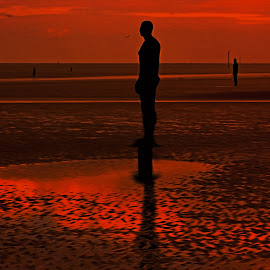 Four Gormley Iron Men by John Wain - Digital Art Abstract ( crosby near liverpool, irish sea, liverpool skyline, another place, sunset, crosby liverpool, crosby beach, anthony gormley )