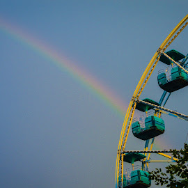 Rainbow over Ferris Wheel by Colleen Bruso - City,  Street & Park  Amusement Parks