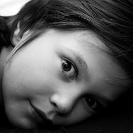 My son by Rebecca OMahen - People Family ( edited, looking, child, black and white, eyes )
