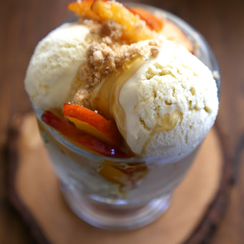 Bourbon Honey Ice Cream with Brown Butter Crumble & Fresh Peaches
