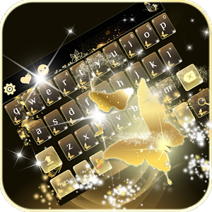 Download Gold butterfly Keyboard Theme For PC Windows and Mac
