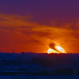 Vanishing Act  by Vinod Kalathil - Digital Art Places ( skyline, sunset, silhouette, lanscape, chicago )