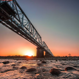 Dreamy Bridge by Pranab Sarkar - Buildings & Architecture Bridges & Suspended Structures ( bride, sunset, river, india, water, landscape )