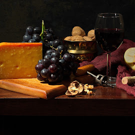 Still life with Gouda by Sorin Tandareanu - Artistic Objects Still Life ( classical, stilllife, grapes, still life, dutch, cheese, classic )