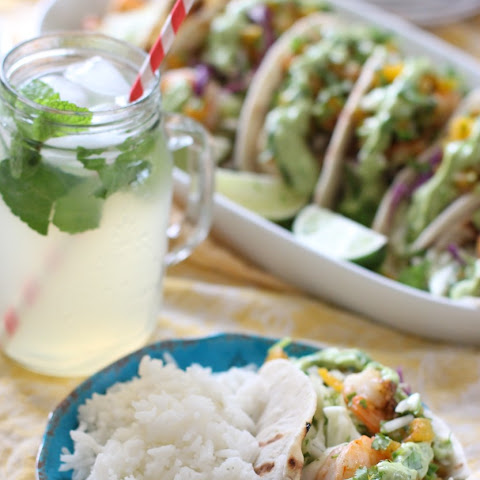 Shrimp Tacos with apricot salsa fresca and avocado crema - gluten free, dairy free, soy free
