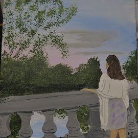 Girl on a Bridge by Robin Smith - Painting All Painting ( sunset, people, landscape )