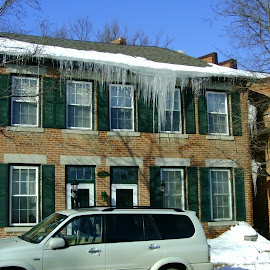 Icles on Apartment House in Galena by Kathy Rose Willis - City,  Street & Park  Neighborhoods ( galena, winter, illinois, icicles, apartment )