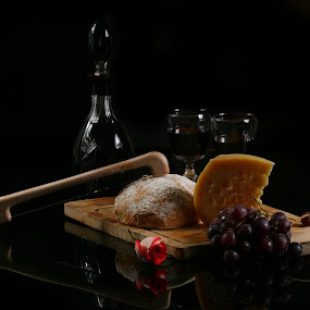 Cheese, Bread and Wine by Cristobal Garciaferro Rubio - Food & Drink Ingredients ( wine, rose, bread, grape, cheese, knife )