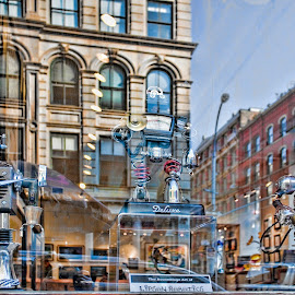 Reflections Through a Store Window 2 by Sandy Friedkin - City,  Street & Park  Markets & Shops ( new, old, buildings, reflections, street scene, city, store window )