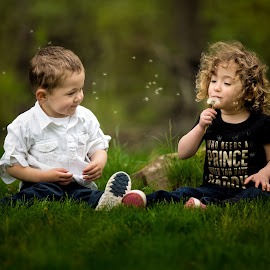 Cousins Bonding by Mike DeMicco - Babies & Children Child Portraits