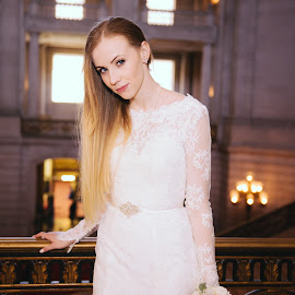 In Love  by Brianna Caskey - Wedding Bride ( city hall, lace, wedding, white, wedding dress, bride )