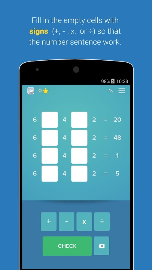 Find the sign - math puzzle Screenshot 1