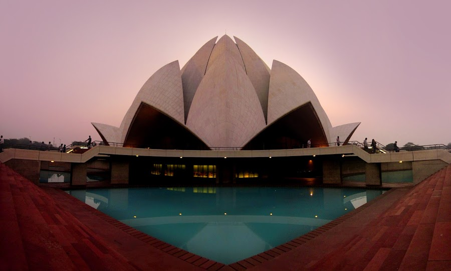 lotus temple, new delhi , India by Saptarshi Mandal - Buildings & Architecture Statues & Monuments ( temple, building, reflections, architecture, panorama )