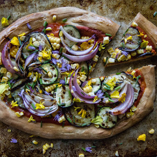 Pizza with Grilled Eggplant, Zucchini, Red Onion and Corn
