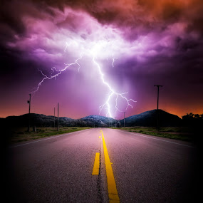 Lightning Road 2 by Glenn Patterson - Landscapes Weather ( lightning, mountains, sky, thunderstorm, colorful, weather, road, storm )