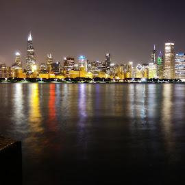 Chicago Skyline by Jezneil Ramos - City,  Street & Park  Skylines ( chicago skyline, cityscapes, reflection, skyline, waterscape, long exposure, lake, chicago, landscape, nightscape, city )