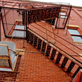 Stairway to Heaven by Barbara Brock - Buildings & Architecture Other Exteriors ( fire escape, stairway, red building,  )