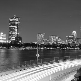 Boston FC Skyline by Harish Kumar K - Buildings & Architecture Office Buildings & Hotels ( boston, canvas, wallpaper, longexposure, bostonskyline, buildings, night, skyline, photography, architecture, night photography )