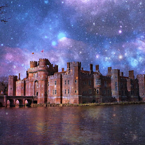 Herstmonceux Castle skylline fantasy by Fiona Etkin - Digital Art Places ( fantasy, stars, digital art, night, castle, architecture, manipulation,  )