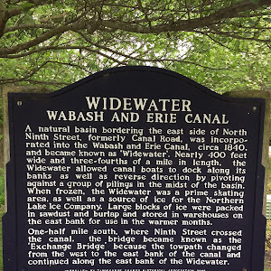 WIDEWATER WABASH AND ERIE CANAL A natural basin bordering the east side of North Ninth Street, formerly Canal Road, was incorporated into the Wabash and Erie Canal, circa 1840, and became known as ...
