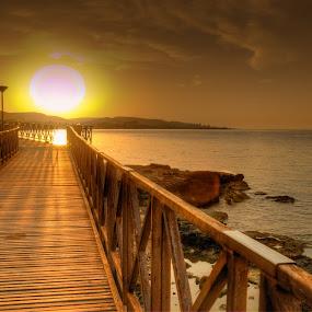 Sunrise by Christos Psevdiotis - Landscapes Sunsets & Sunrises ( water, colour, nikon d3100, hdr, sunset, stone, sea, rock, sunrise, bridge, sun )