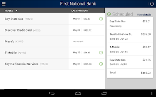 Screenshot of First National Bank Mobile