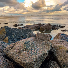 Stones by Md Islam - Landscapes Beaches ( water, sunset, sea, stones, landscape )